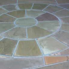 Hand Cut Circle Raj Green Sandstone Paving 3.6m